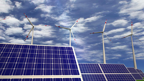 Solar panels and wind turbines passing by Animation