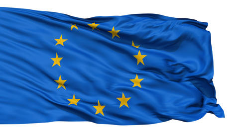Realistic 3d seamless looping Europe flag waving in the wind Animation