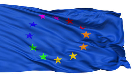 Realistic 3D detailed slow motion Europe gay flag in the wind Animation