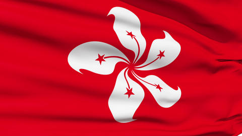 Realistic 3d seamless looping Hong Kong flag waving in... Stock Video Footage
