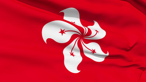 Realistic 3d seamless looping Hong Kong flag waving in the wind Animation