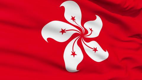 Realistic 3d seamless looping Hong Kong flag waving in... Stock Video Footage