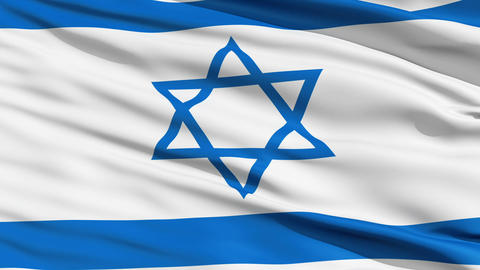 Realistic 3d seamless looping Israel flag waving in the wind Stock Video Footage