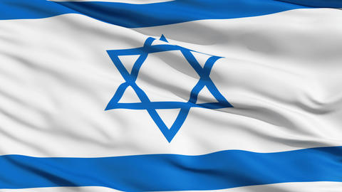 Realistic 3d seamless looping Israel flag waving in the wind Animation