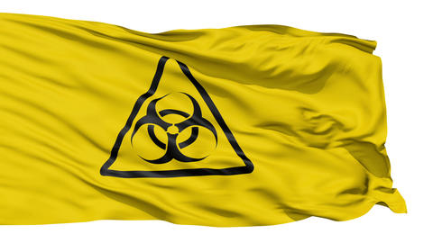 Yellow Biohazard Symbol Wavy Fabric Animation
