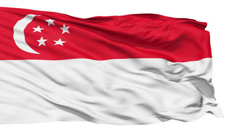 Realistic 3D detailed slow motion singapore flag in the wind Animation