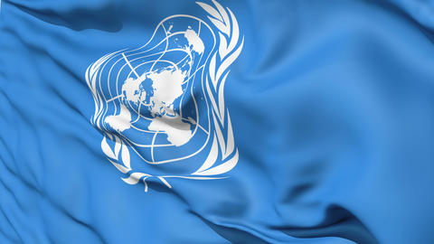 White United Nations Symbol On Blue Fabric Animation