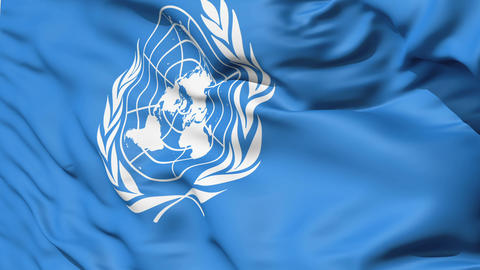 White United Nations Symbol On Blue Fabric Stock Video Footage