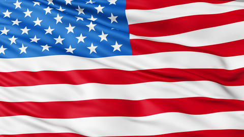 Realistic 3d seamless looping USA flag waving in the wind Animation
