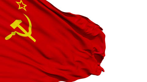 Realistic 3d seamless looping Soviet Union flag waving Animation