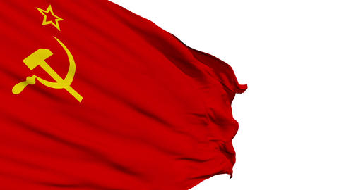 Realistic 3d seamless looping Soviet Union flag waving Stock Video Footage