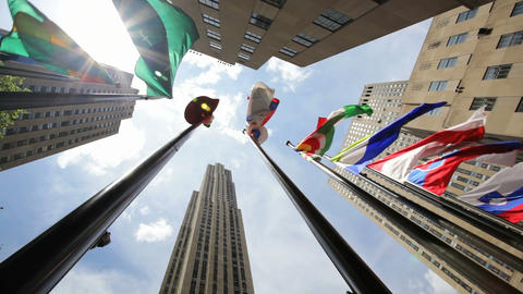Rockefeller Center Flags Stock Video Footage