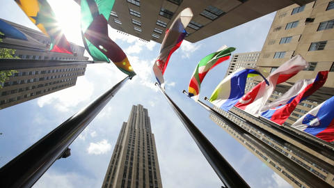 Rockefeller Center Flags Stock Video Footage