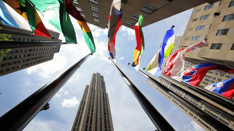Rockefeller Center Flags Footage