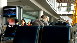 Airport Terminal Passengers Waiting 01 Stock Video Footage