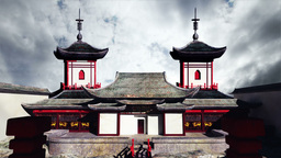 Chinese Building Clouds Timelapse 02 Stock Video Footage