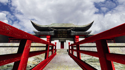 Chinese Building Clouds Timelapse 04 Stock Video Footage