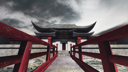 Chinese Building Clouds Timelapse 06 Stock Video Footage