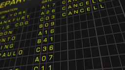 International Airport Timetable All Flights Get Cancelled 01 Stock Video Footage