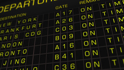 International Airport Timetable All Flights On Time 02 Stock Video Footage