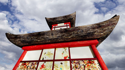 Japanese Pagoda Clouds Timelapse 01 Stock Video Footage