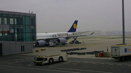 Lufthansa Flight Waiting at Beijing Airport 02 Stock Video Footage