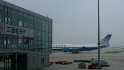United Flight at Beijing Airport 01 Stock Video Footage