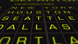 US Domestic Airport Timetable 02 extreme closeup Animation