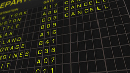 US Domestic Airport Timetable All Flights Get Cancelled 01 Stock Video Footage