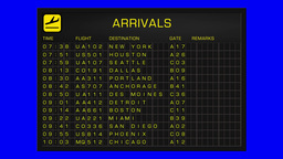 US Domestic Airport Timetable All Flights Gets Cancelled BlueScreen ARRIVALS Animation