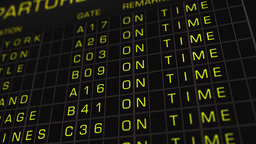 US Domestic Airport Timetable All Flights On Time 01 Stock Video Footage