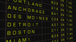 US Domestic Airport Timetable All Flights On Time 03 Stock Video Footage
