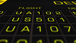 US Domestic Airport Timetable All Flights On Time 07 extreme closeup Animation