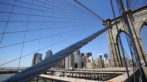 Skyline and Brooklyn Bridge Stock Video Footage