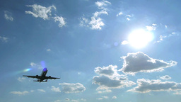 Airplane Flying Over Head Slow Motion stock footage