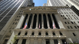 Wall Street Nyc New York City Ny Tilt Down NYSE Stock Exchange stock footage