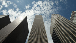 Skyscraper High Office Building New York City Pan Big Corporation Business stock footage