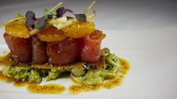 Gourmet Restaurant Food Raw Tuna Avocado Fine Dining stock footage