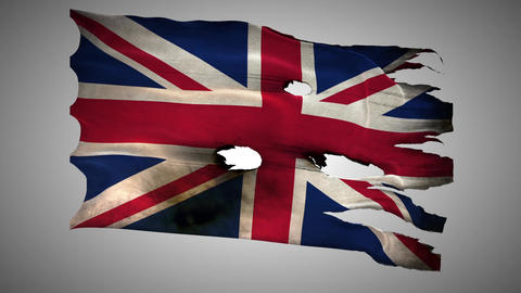 England Perforated, Burned, Grunge Waving Flag Loo stock footage