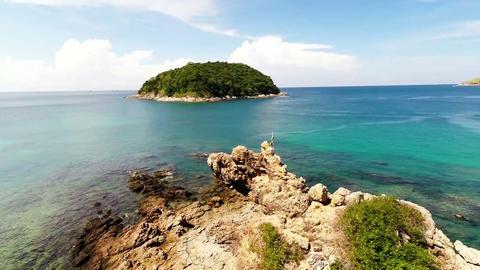 Island. Sea. Aerial Footage