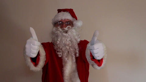 Santa Claus shows his two thumbs up Footage