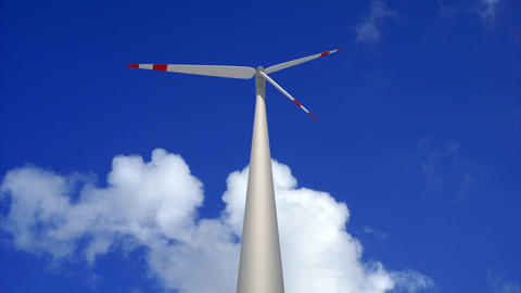 Wind mill low angle loop Animation