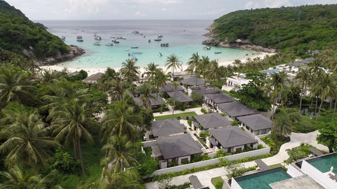 Hotel on the island. Overhead shot Footage