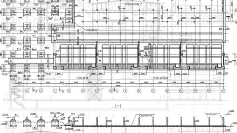 Construction Drawings Background White Footage