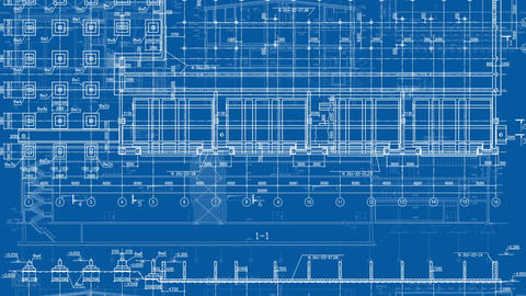 Construction Drawings Background Blue Print Footage
