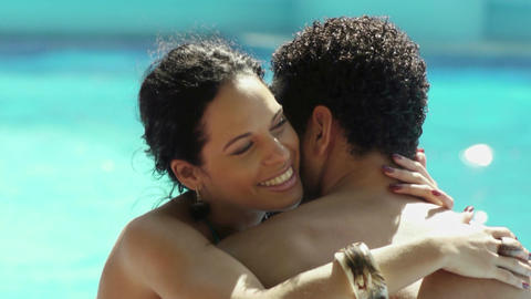 Honeymoon, happy young newlyweds smiling and relax Live Action