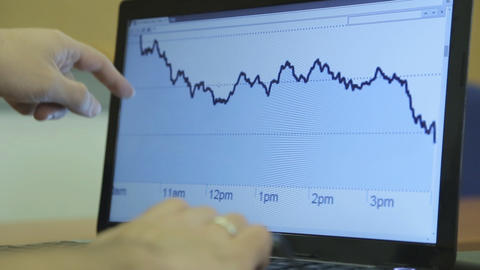 A Businessman Working With A Stock Computer stock footage
