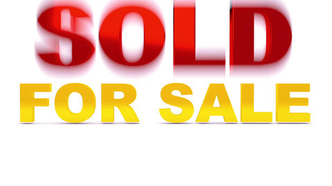 For sale words crashed by big sold word. Full HD Animation