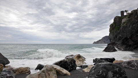 Cloudy Morning On The Bank Of The Ligurian Sea, Ve stock footage