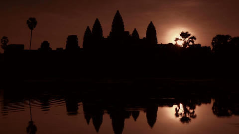 Sunrise And Early Morning At Angkor Wat Temple, Si stock footage